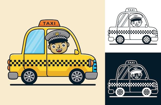 웃는 드라이버와 노란색 택시입니다. 평면 아이콘 스타일의 벡터 만화 일러스트 레이 션
