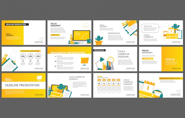 Yellow template for slide presentation on background.