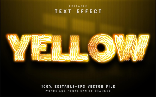 Yellow text effect neon style