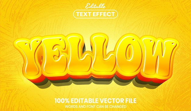 Yellow text, font style editable text effect