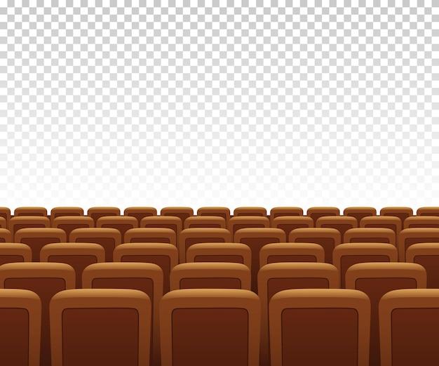 透明な背景に黄色の劇場のアームチェア