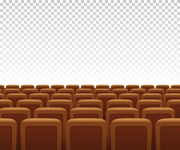 Yellow theatre armchairs on transparent background