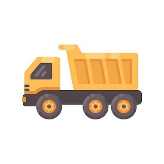 Yellow tipper truck flat illustration