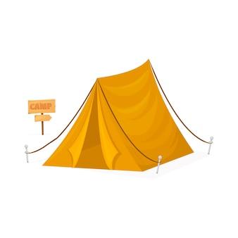 白い背景で隔離の黄色の観光キャンプテント。