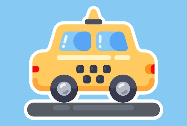 노란색 장난감 택시. 빛나는 아이콘. 좋은 기계 평면 그림입니다.