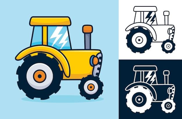 Желтый трактор. карикатура иллюстрации в плоском стиле