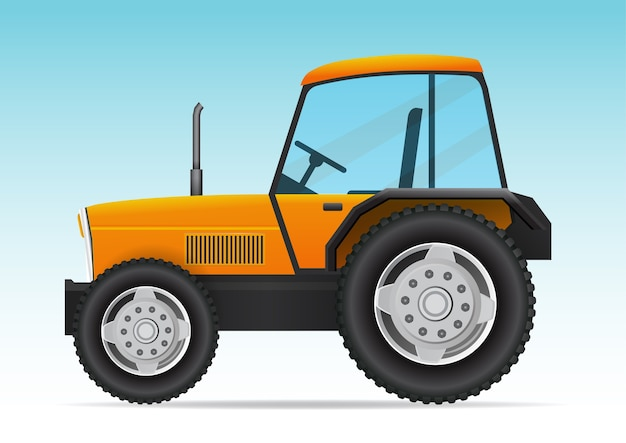 黄色いトラクター車両。現代の農業用トラクターの側面図。