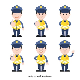 Yellow traffic policeman characters