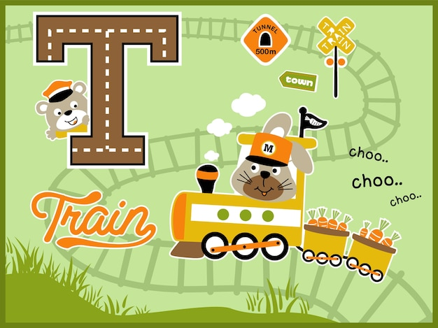Yellow train cartoon vector with cute animals