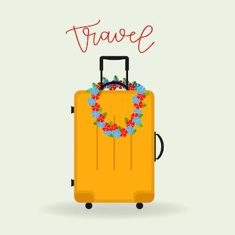 Yellow travel suitcase.