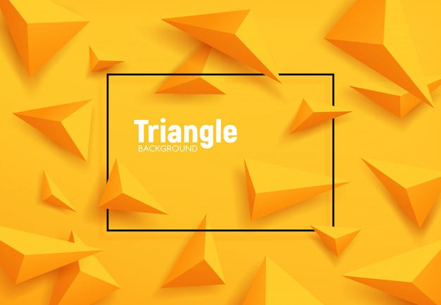 Yellow triangles abstract geometric background