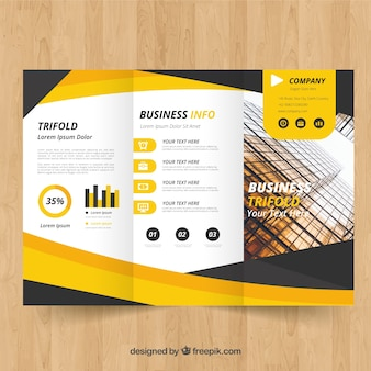 Yellow trifold brochure