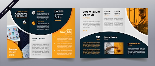 Yellow trifold business brochure template