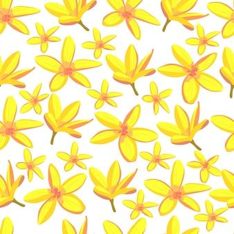 黄色の熱帯の花のシームレスなパターンエキゾチックな楽園の花明るい株式ベクトルイラスト
