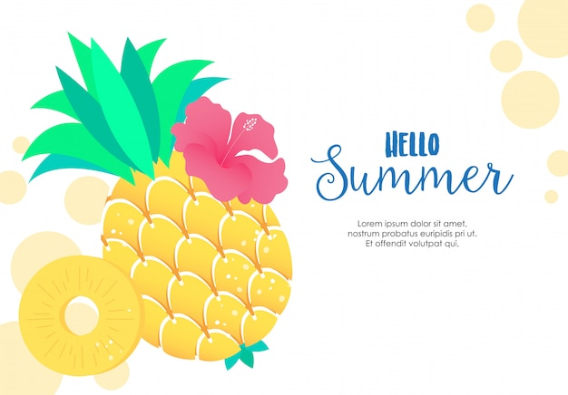 Yellow tropical pineapple illustration vector