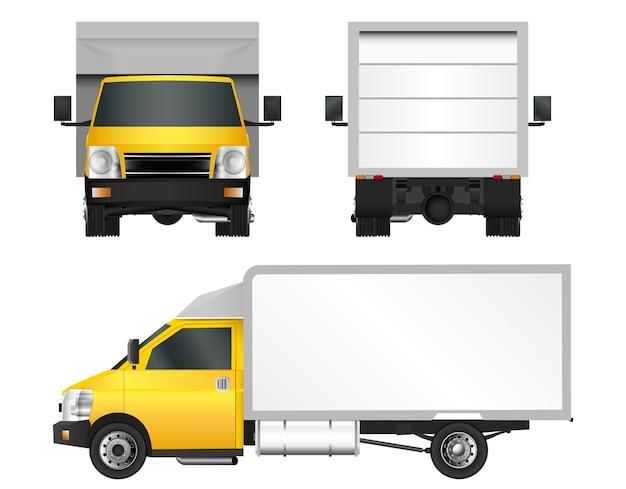 Желтый грузовик шаблон. грузовой фургон векторная иллюстрация eps 10 на белом фоне. доставка коммерческого транспорта по городу