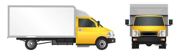 Желтый грузовик шаблон. грузовой фургон векторная иллюстрация eps 10 на белом фоне.