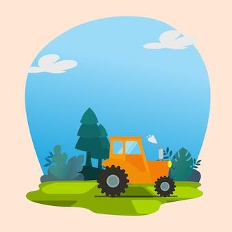 自然の背景プレミアムベクトルと黄色のトラック
