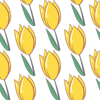 Yellow tulip seamless pattern. cartoon style with outline. isolated.