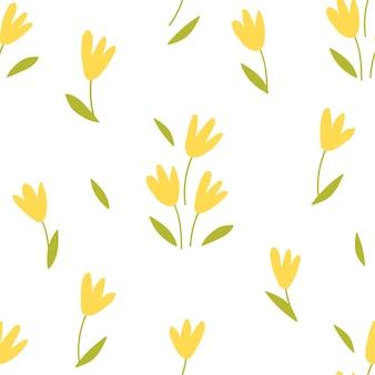Желтые тюльпаны бесшовные модели на белом фоне. векторная иллюстрация в плоском стиле