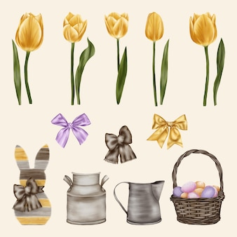 Yellow tulips with bows, easter rabbit and basket with eggs