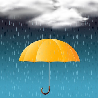 Yellow umbrella and rainy season