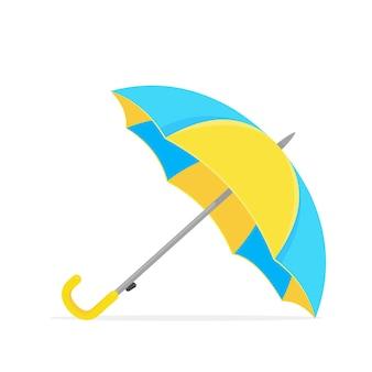 태양과 비로부터 보호하기 위해 노란 우산.