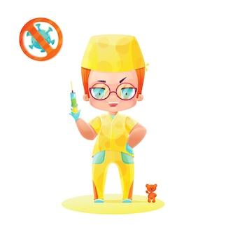 주사기와 노란색 유니폼 남자 간호사