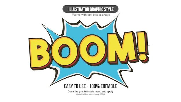 노란색 대문자 3d 만화 편집 가능한 텍스트 효과