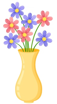 Yellow vase with purple and pink flowers