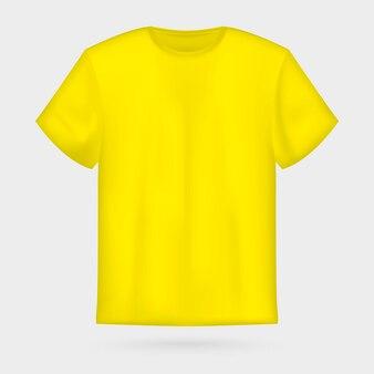黄色のベクトルメンズtシャツモックアップ。