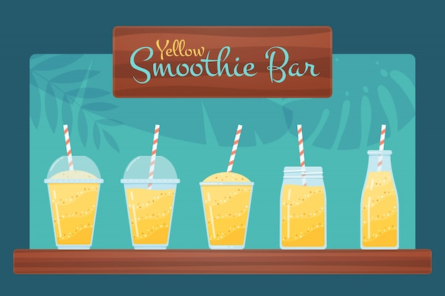 Yellow vegan diet smoothie and cocktail set