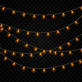 Желтые старинные огни изолированы. набор золотой светящейся гирлянды.