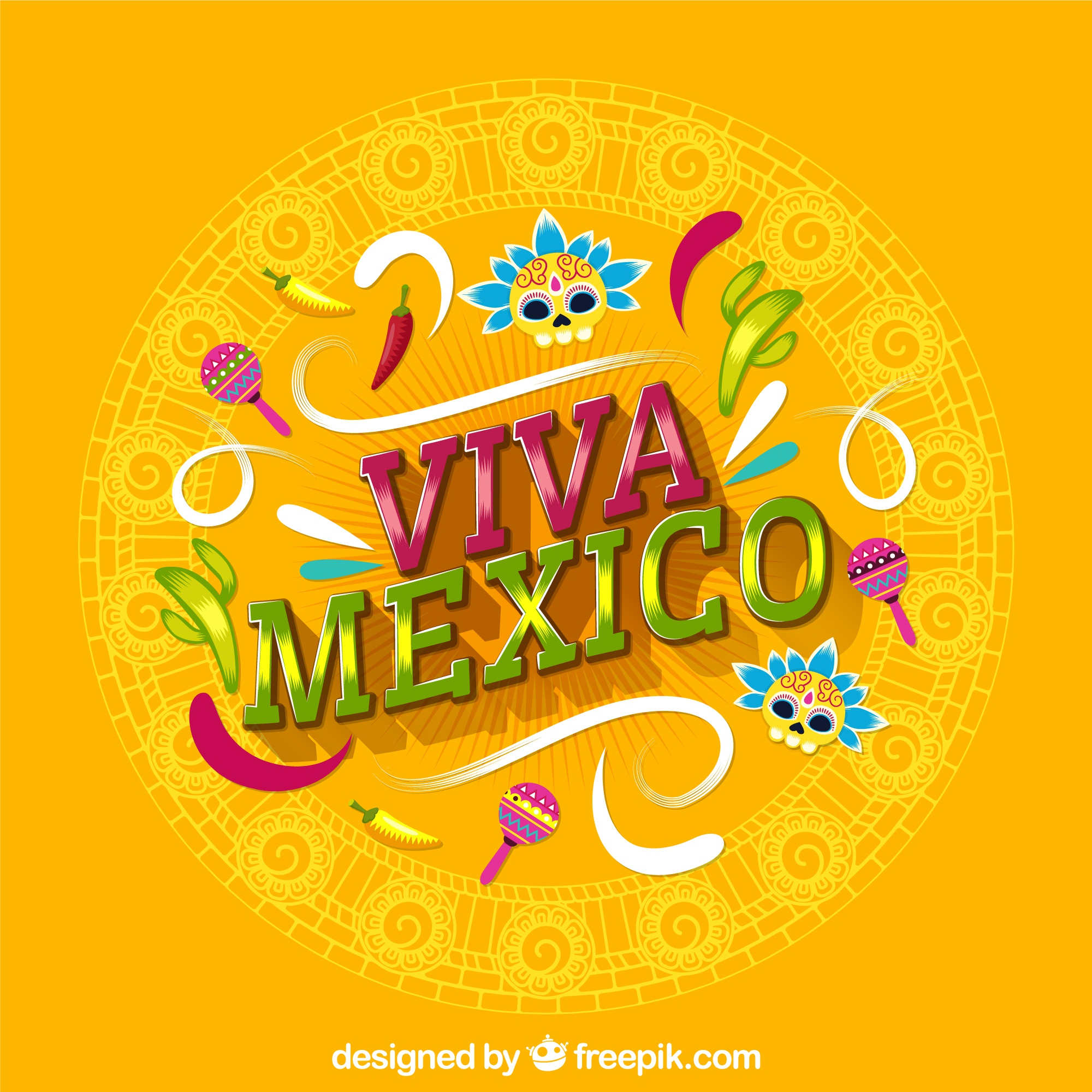 Yellow viva mexico lettering background
