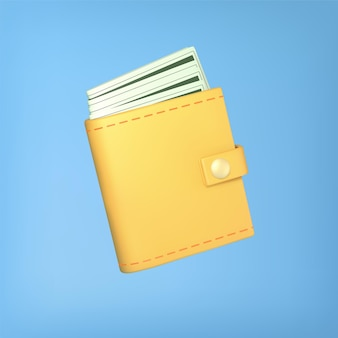 Yellow wallet with cash on blue