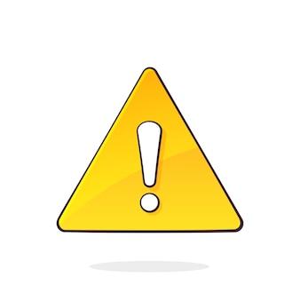 Желтый предупреждающий знак и восклицательный знак внутри треугольной векторной иллюстрации символа внимания
