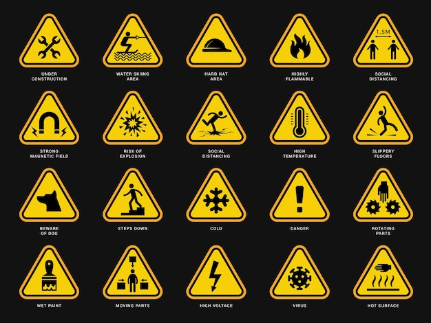Yellow warning symbols. triangle signs with danger symbols attention camera electrical hazard vector templates. safety risk, yellow icon hazard and caution illustration