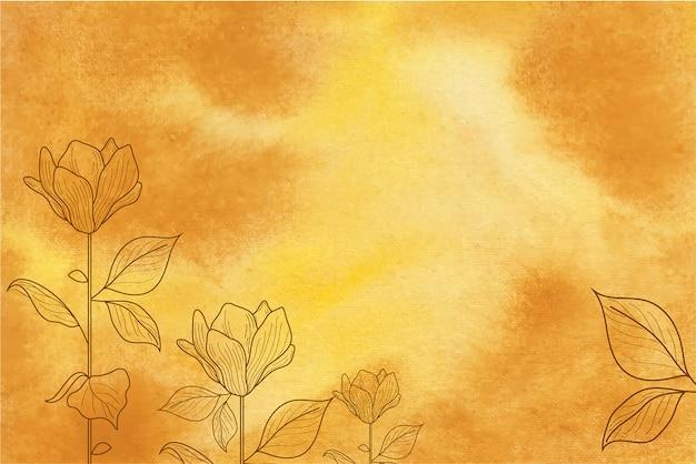 손으로 그린 꽃과 노란 수채화 배경