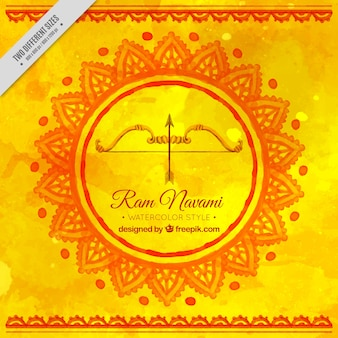 Yellow watercolor background with ram navami festive bow