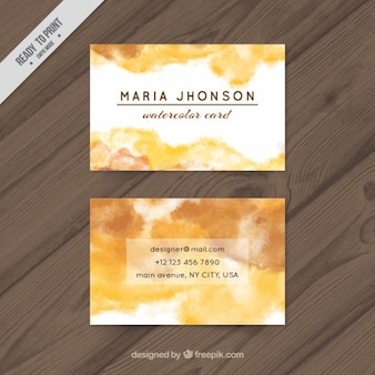 Yellow watercolor business card