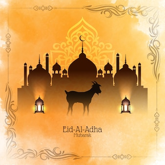 Желтая акварель ид аль адха мубарак исламский фестиваль мечеть фон вектор
