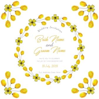 Yellow watercolor floral wedding invitation card