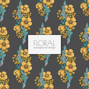 노란 수채화 꽃 원활한 배경