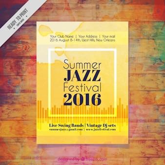 Желтый акварель джазовый фестиваль листовка