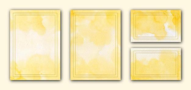 金色のフレームと黄色の水彩多目的カードテンプレート