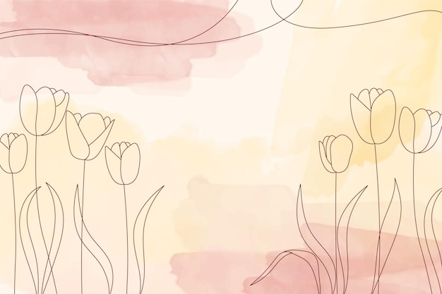 Yellow watercolor pastel background with hand drawn flower elements