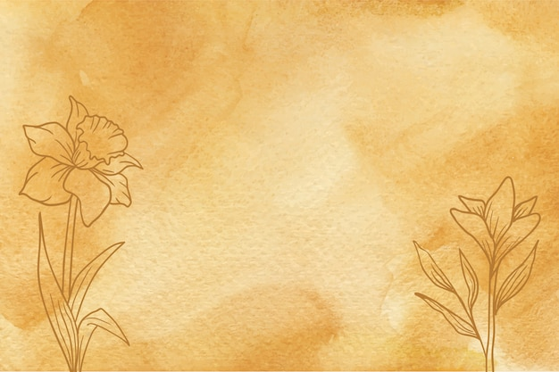 Yellow watercolor texture with hand drawn flowers background