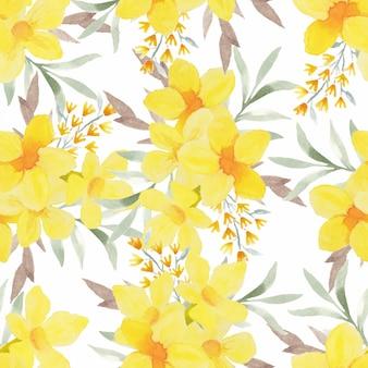 黄色の水彩トロピカル花柄シームレスパターン