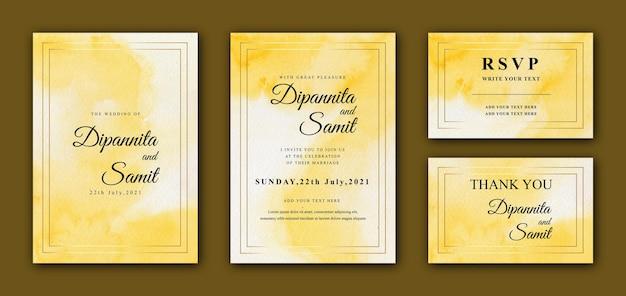 Yellow watercolor wedding card template design