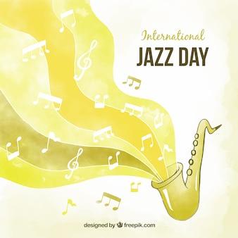 Желтый акварельный фон для международного джазового дня
